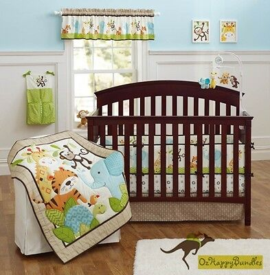 New Baby Boys 9 Pieces Cotton Nursery Bedding Crib Cot Sets-- Jungle Animals set