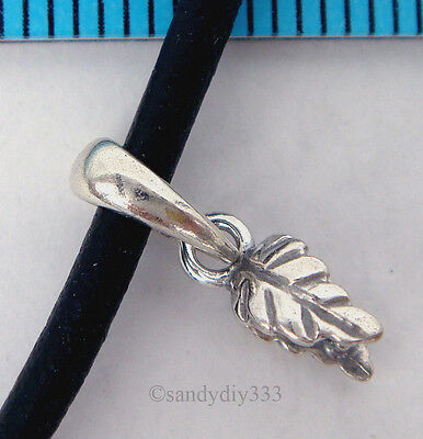 1x OXIDIZED STERLING SILVER LEAF PINCH IN PENDANT BAIL CLASP SLIDE #1734