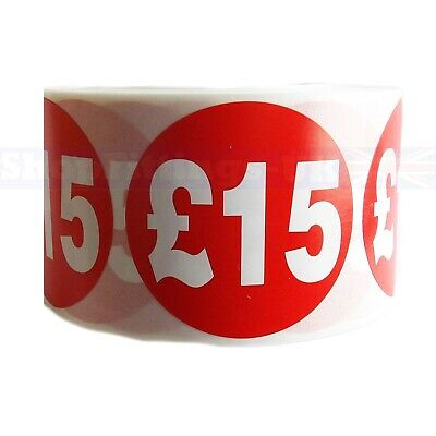 500x RED £15 PRICE SELF ADHESIVE STICKERS STICKY LABELS SWING LABELS FOR RETAIL
