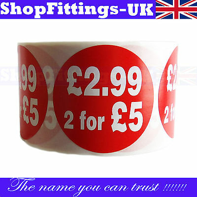 500x RED £2.99, 2 FOR £5 SELF ADHESIVE STICKERS STICKY PRICE LABELS  FOR RETAIL