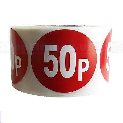 500x RED 50p PRICE SELF ADHESIVE STICKERS STICKY LABELS SWING LABELS FOR RETAIL