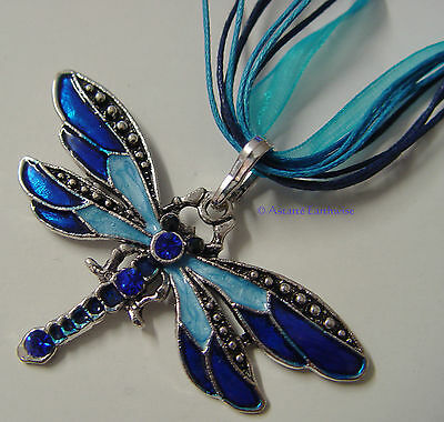 DRAGONFLY NECKLACE - BLUE & SILVER  Wicca Witch Pagan Goth