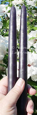 """2 x BLACK TAPER CANDLES 24cm or 9.5"""" Wicca Gothic Witch Altar Spell 9 HOUR BURN"""