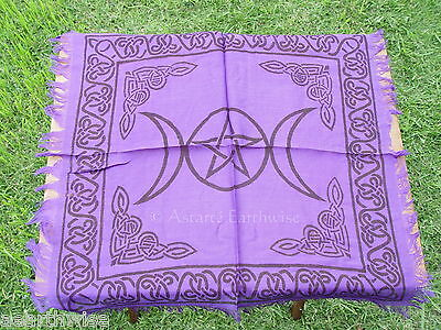 PURPLE TRIPLE MOON ALTAR CLOTH 450 x 450 mm Wicca Pagan Witch Goth Punk Spell