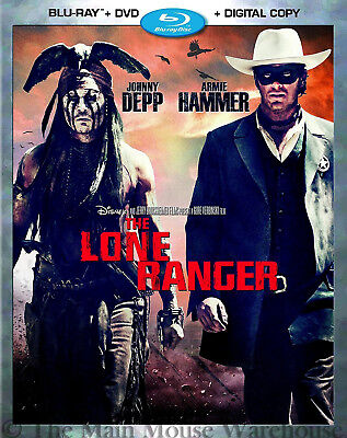 Disney Western The Lone Ranger Movie Blu Blu-ray DVD Digital Copy with Slipcover