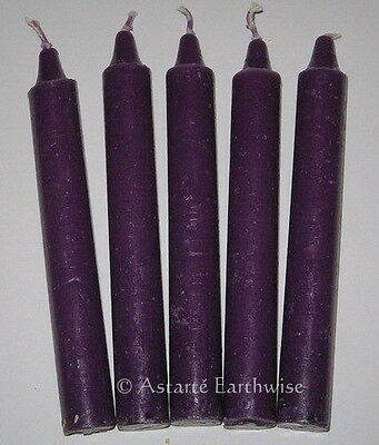 "5 x PURPLE CANDLES TAPER RITUAL 6"" / 15.2cms Wicca Goth Pagan Witch SPELL CANDLE"