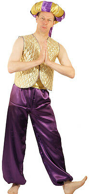 Gold Aladdin/Genie/Sultan with Doughnut Hat Fancy Dress Costume Men's SML-XXXXL
