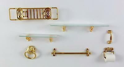 Dolls House Mini Mundus Miniature Brass Gold Plate Bathroom Accessory Set