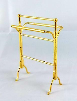 Dolls House Mini Mundus Miniature Bathroom Accessory Brass Gold Towel Rack Rail