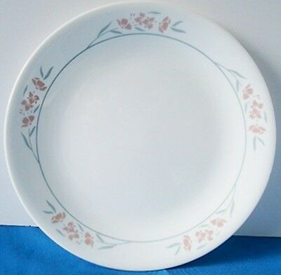 """Corelle Silk Blossoms 8.5"""" Lunch Snack Bread Plate Mauve Flowers Gray Leaves"""