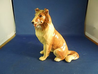 Vintage Morten's Studio Ceramic Collie Dog Figurine Seated Good for Animal Lover