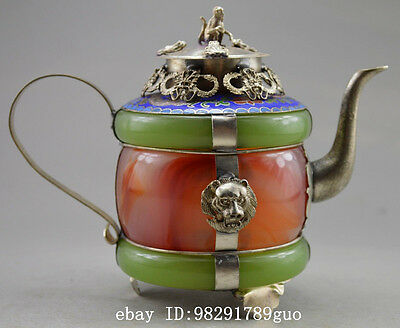 Collectible Decorated Old Handwork Jade & Tibet Silver Carved Dragon Tea Pot