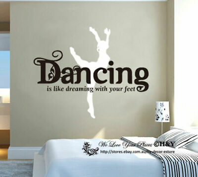 Dancing like dreaming on your feet Removable Wall Art Stickers Quote Vinyl Decal