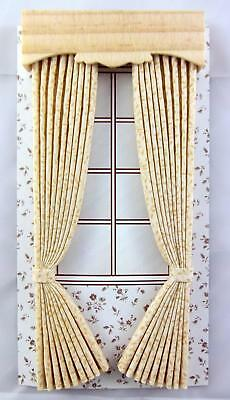 Dolls House Full length Beige Curtains & Pelmet Miniature 1:12 Scale Accessory