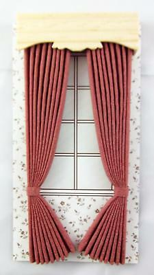 Dolls House Miniature 1:12 Scale Accessory Dusky Pink Curtains & Pelmet