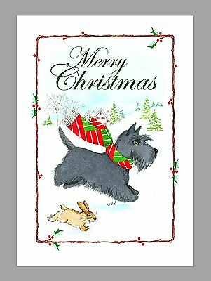 Scottish Terrier Christmas Cards, Box of 16 Cards & 16 Envelopes