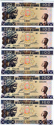 LOT, Guinea, 5 x 100 Francs, 2012, P-New, UNC > colorful