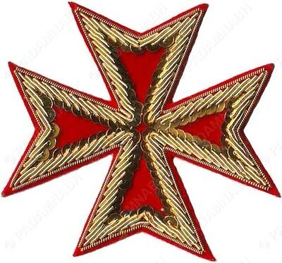 Masonic St. John Order Malta Knights Maltese Cross Hand Embroidered (Me-002 Rd)