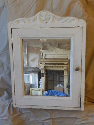 Antique Shabby White Medicine Cabinet Cupboard Decorative Chic Figural 3679-14