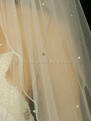 2T Ivory Bridal Elbow Length Pencil Edge Scattered 40 Rhinestones Wedding Veil