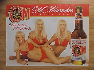 Sexy Girl Beer Poster Old Milwaukee ~ Three Blondes in Red Bikini