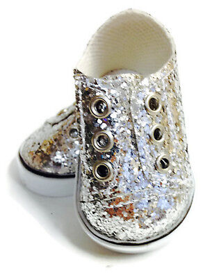 """Silver Glitter Slip On Sneakers Shoes made for 18"""" American Girl Doll Clothes"""
