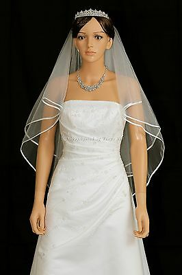 "Handmade 2T Bridal White / Ivory Fingertip Length 1/4"" Ribbon Edge Wedding Veil"