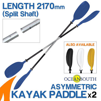 2 x Premium 2.17m Blue Alloy Asymmetric Kayak Paddles(Split Shaft)