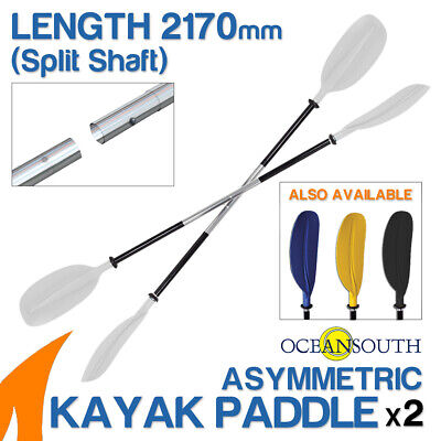 2 x Premium 2.17m White Alloy Asymmetric Kayak Paddles(Split Shaft)