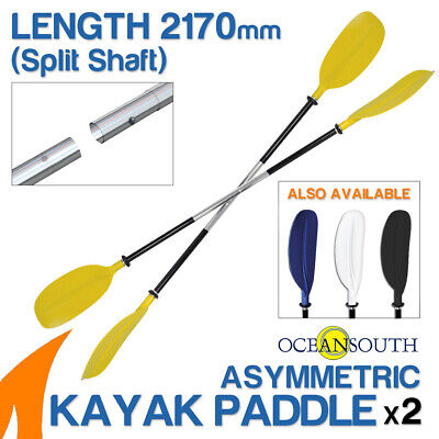 2 x Premium 2.17m Yellow Alloy Asymmetric Kayak Paddles(Split Shaft)
