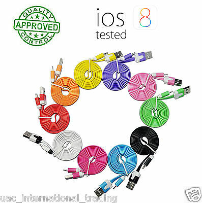 iphone USB Data Sync Charger Flat Cable 1M/2M for iphone 6/6 plus/5/5C/5S