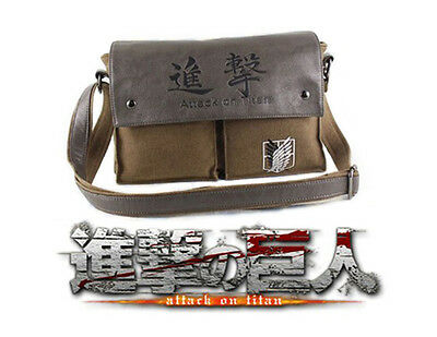 Attack on Titan Leinen Schultertasche Tasche Messenger Bag Cosplay Levi Eren