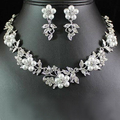 Handmade Pearl Austrian Crystal Rhinestone Necklace Earrings Bridal Jewelry Set