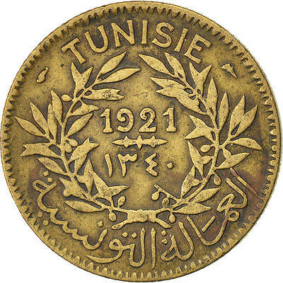 [#83706] TUNISIA, 2 Francs, 1921, Paris, KM #248, VF(30-35), Aluminum-Bronze