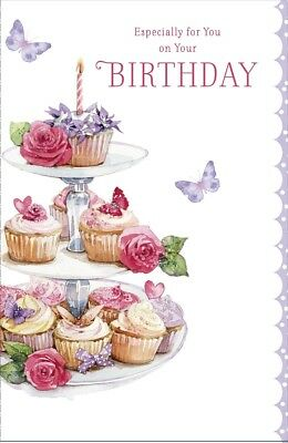 "Open Female Birthday Card - Pink Cupcakes, Roses & Lilac Butterflies 9"" x 5.75"""