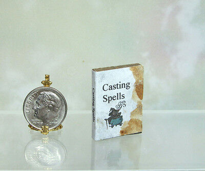 Dollhouse Miniature CASTING SPELLS non-opening Wood Book