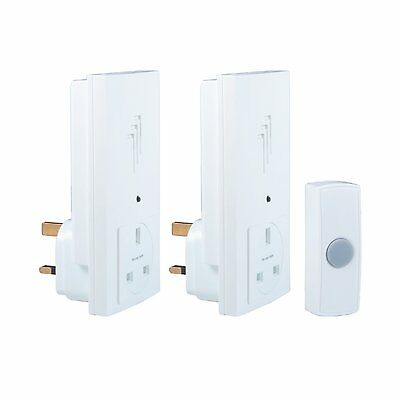 Byron DB333 Wireless Twin Plug Through Door Bell Chime Kit with 1 Sound