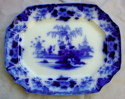 "EXCEPTIONAL LARGE SCINDE PATTERN FLOW BLUE PLATTER 18 1/4"" BY 14 1/4"""
