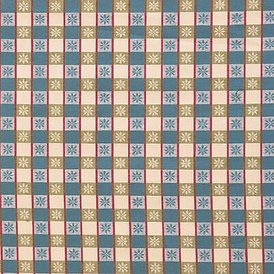 Lee Jofa France Petite Etoile Plaid Spruce Green Blue Red Cotton Linen Fabric