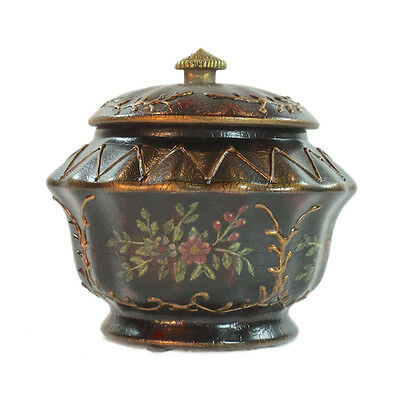 14cm Porcelain Black and Gold Round Covered Jar with floral pattern