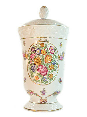 32cm Porcelain White and Gold high leg Covered Jar with floral pattern