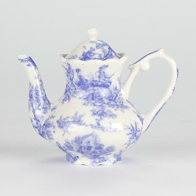 "Antique Style Blue White Miniature Mini Teapot European tea cup Mark 3.5"" 9cm"