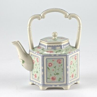 "Vintage Style Pink & Green Porcelain Teapot Shabby Chic Floral Mark 6"" 15cm"