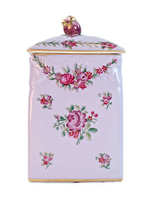 "Schumann Bavaria vintage style Porcelain Purple Square Covered Jar Rose 17.5"" 7"""
