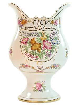 NEW Antique European Bavaria style Porcelain White gold Jar Vase Floral 30cm