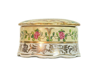 Antique vintage French Style Porcelain Yellow Gold Round box Pink flowers 6.5cm