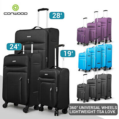 3pc Luggage Suitcase Trolley Set TSA Travel Carry On Bag Soft Lightweight