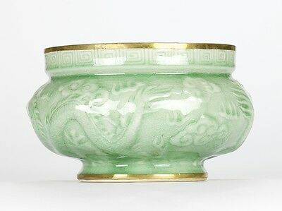 Vintage Chinoiserie Celadon Green Dragon Relief Incense burner Pot 19cm 7.5""