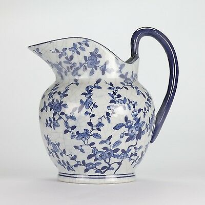 Vintage County style Blue White Farmhouse Jug Floral Crackled glaze 25cm10""