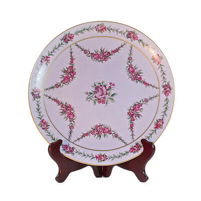Vintage French Country Style Porcelain Purple Plate w Roses, shabby chic 27.5cm